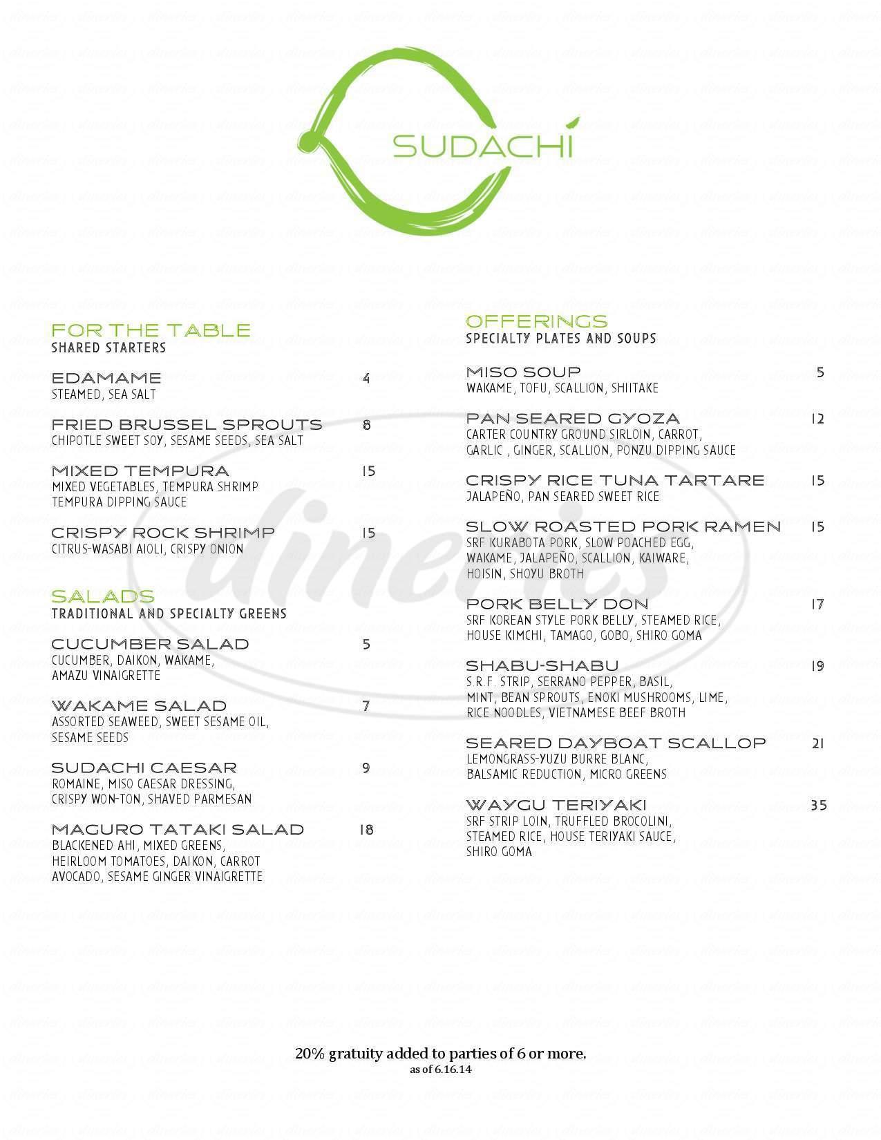 menu for Sudachi