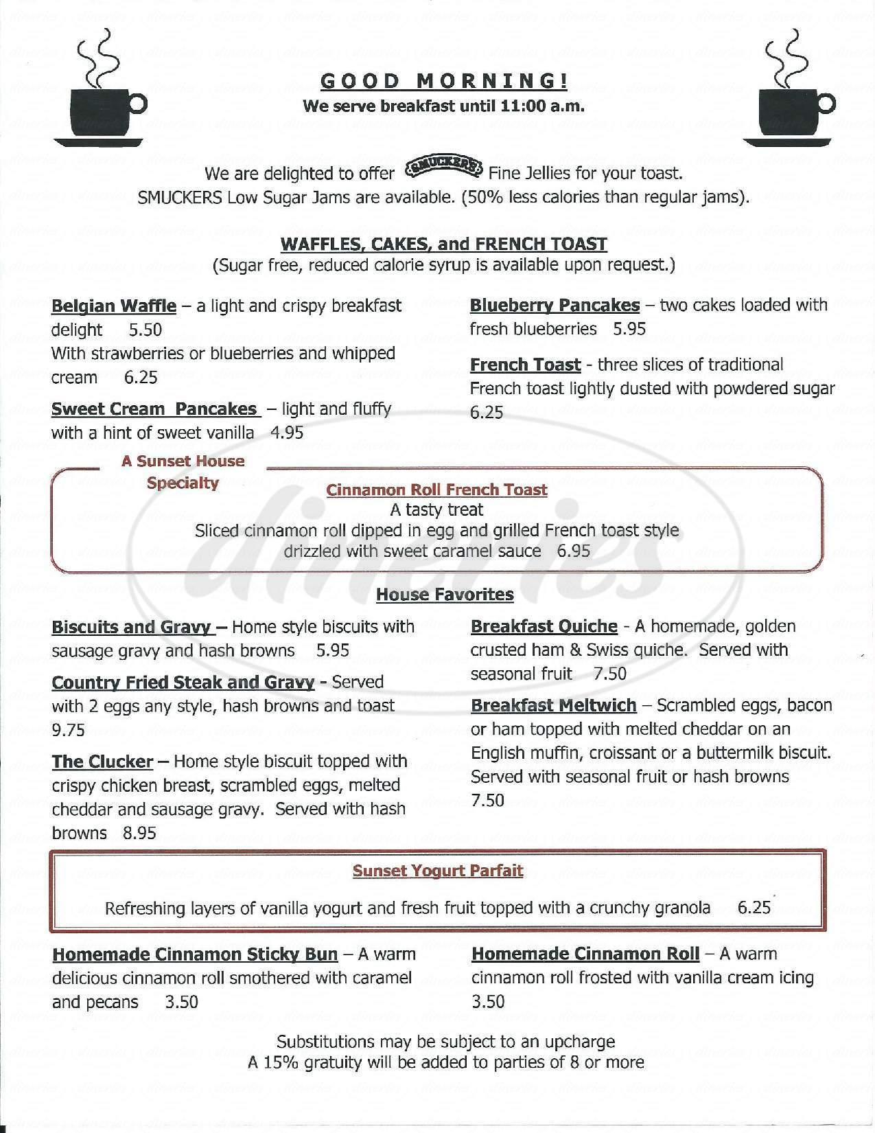 menu for Sunset House Restaurant