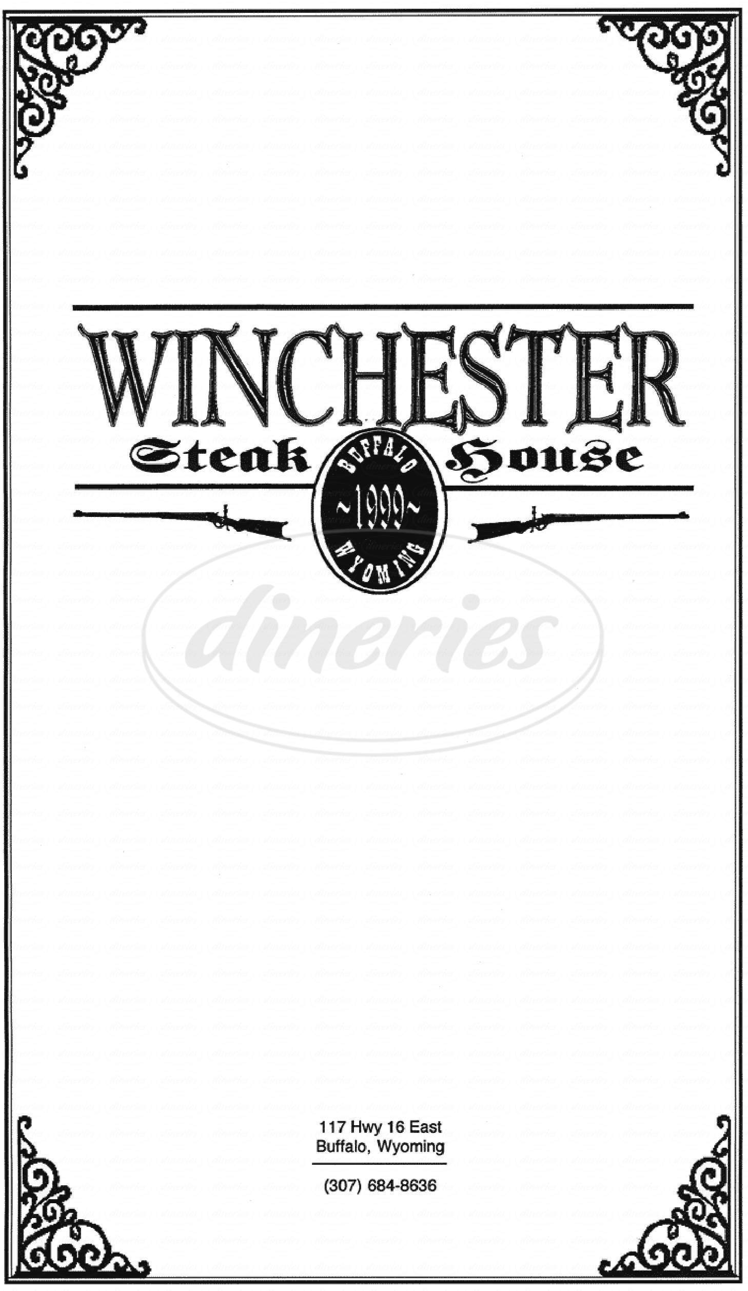 menu for Winchester Steakhouse