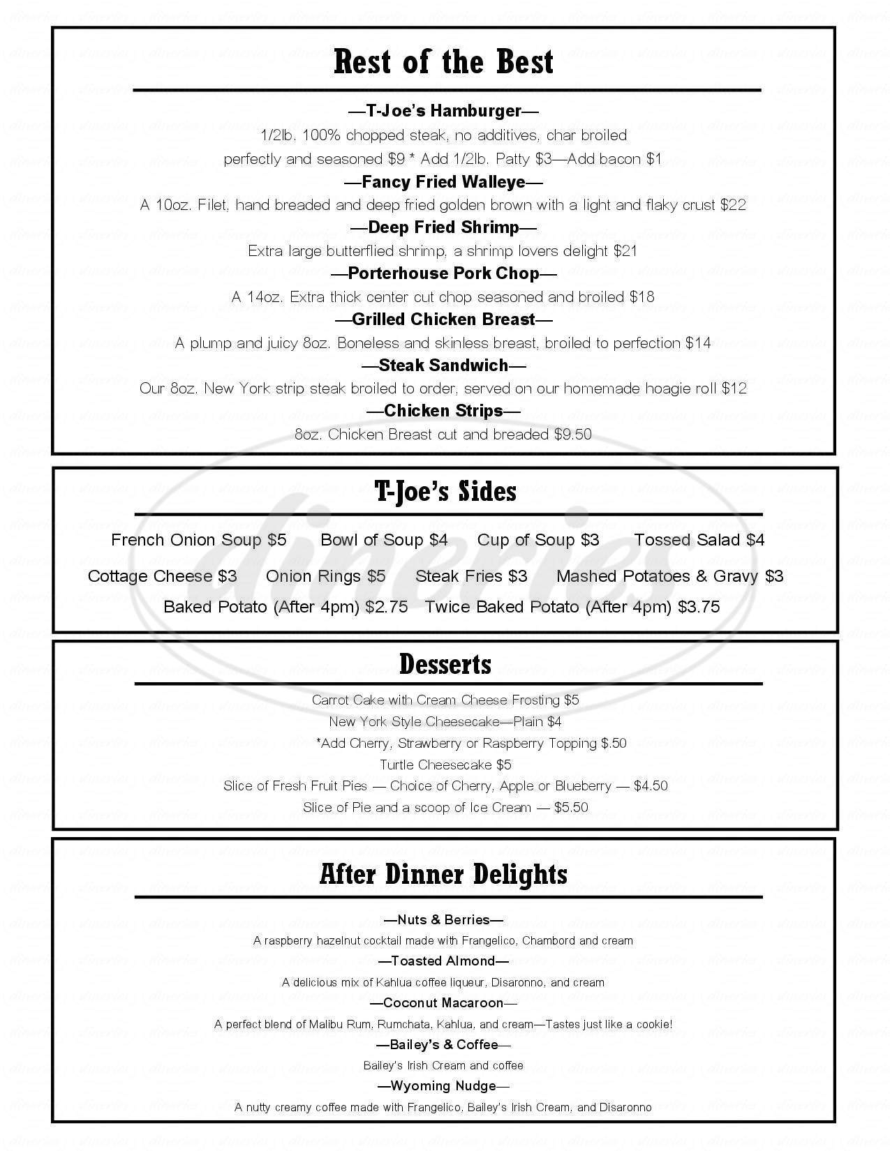 menu for T-Joe's Steakhouse & Saloon