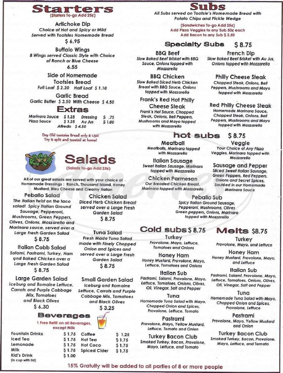 menu for Tootsie's Take & Bake
