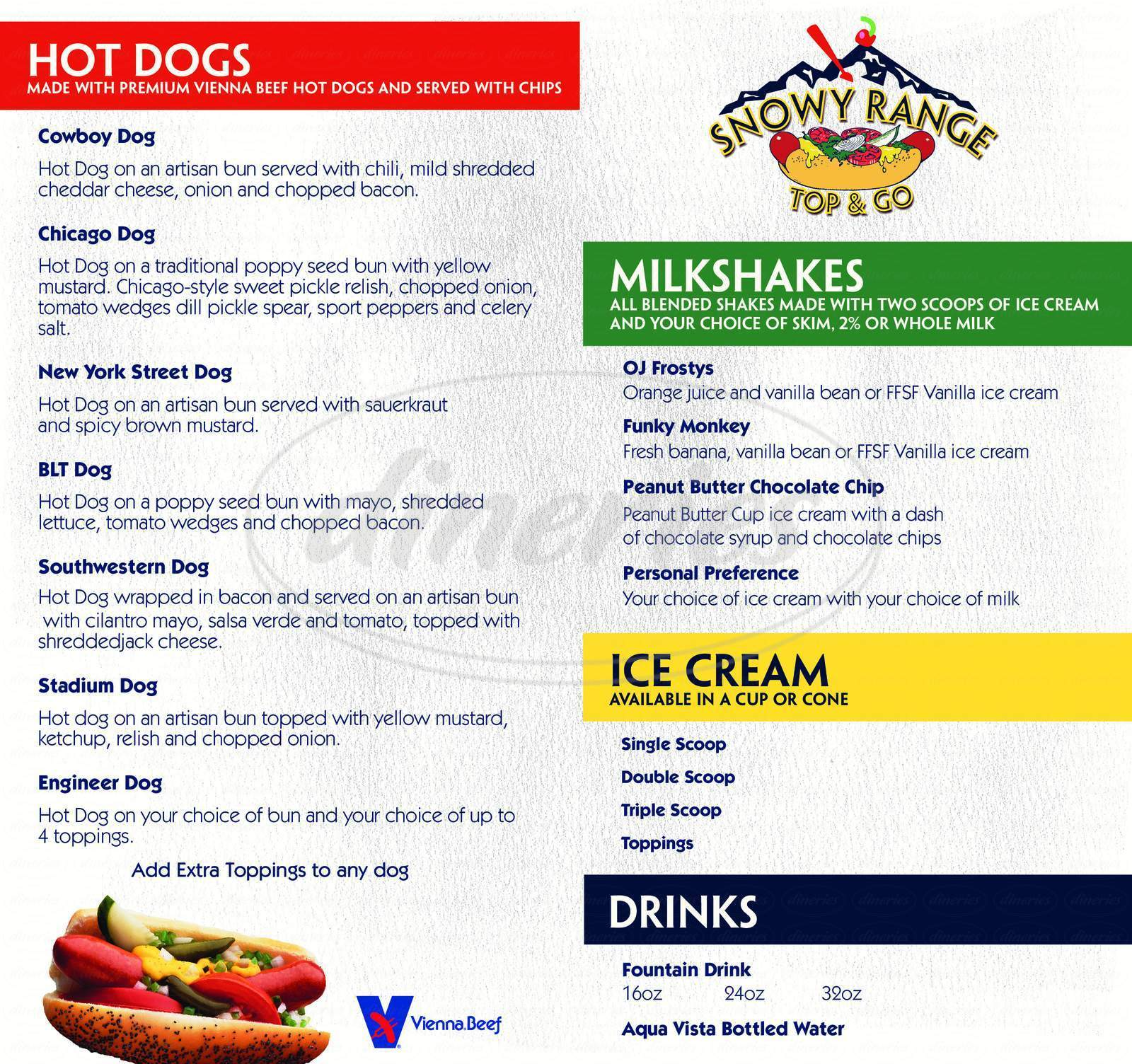 menu for Snowy Range Top & Go - UW Union