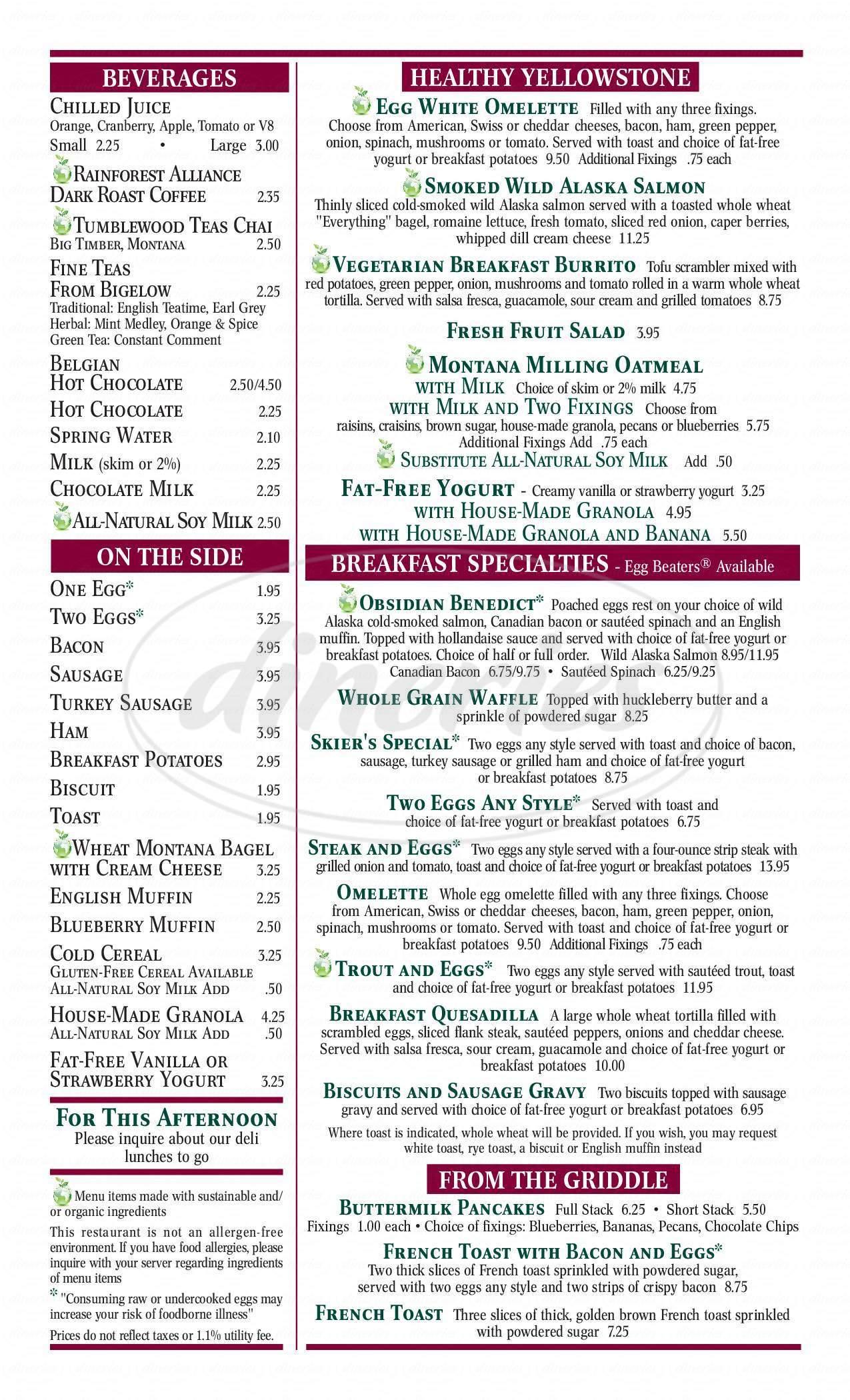menu for Obsidian Room