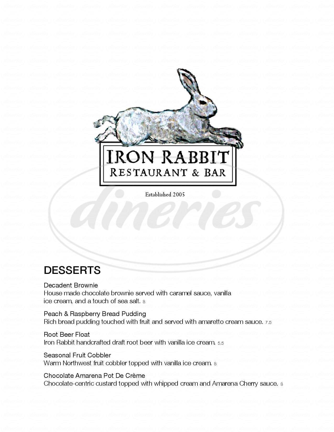 menu for Iron Rabbit Restaurant & Bar