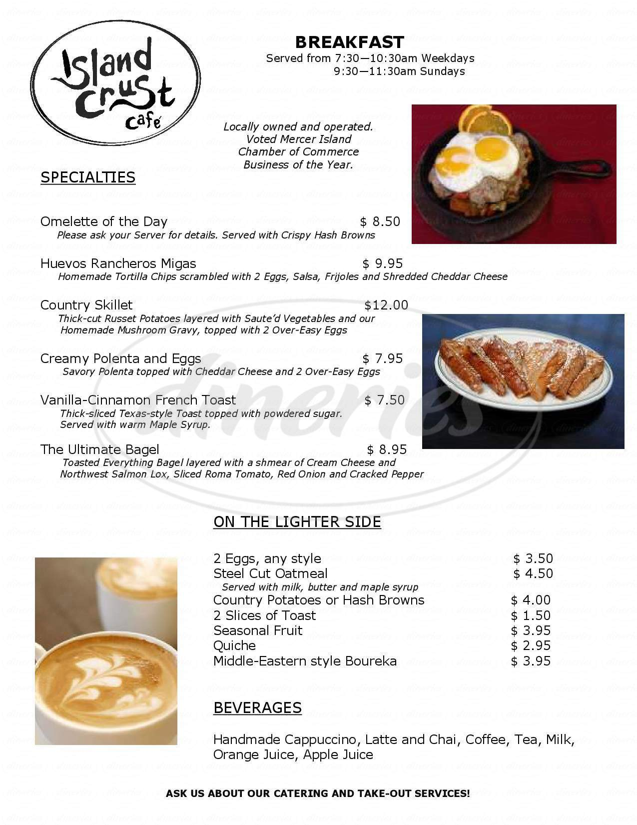 menu for Island Crust Café