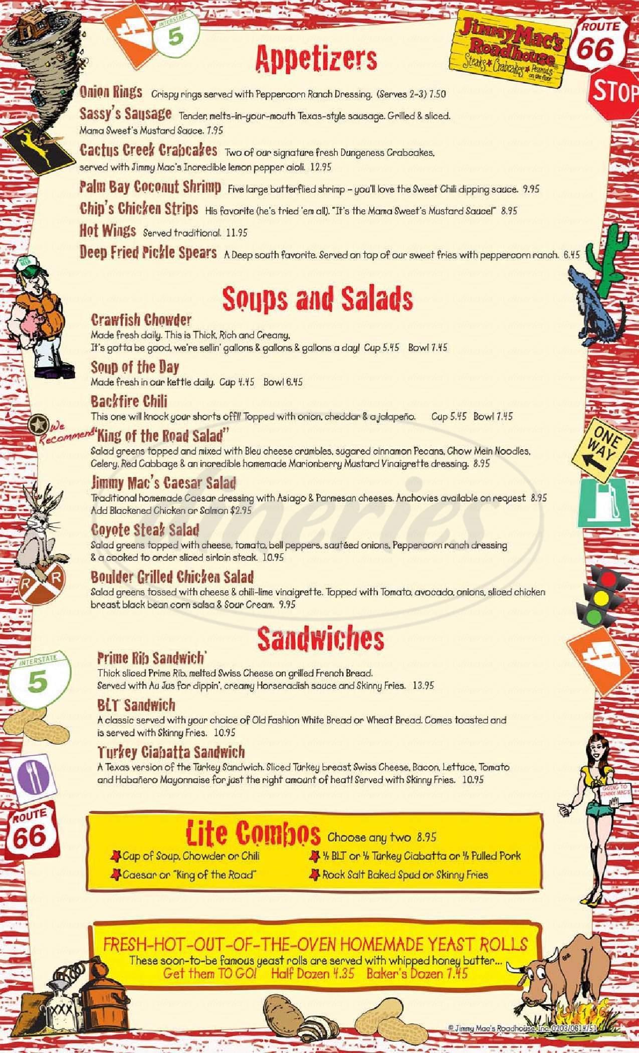 menu for Jimmy Mac's Roadhouse