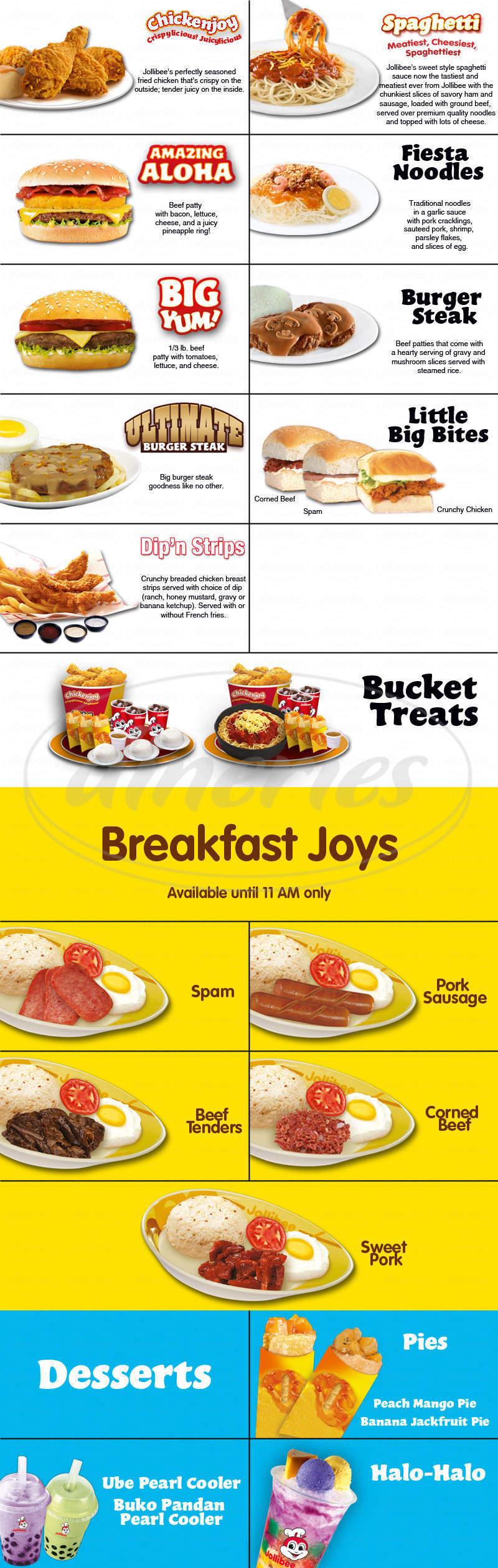 menu for Jollibee