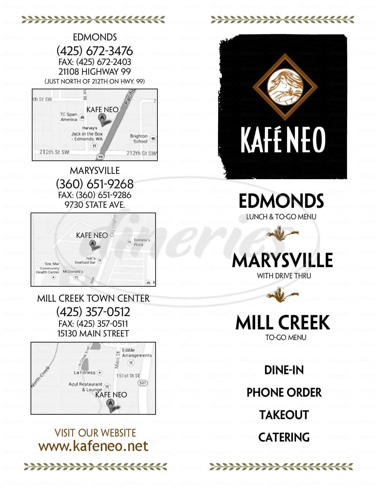 menu for Kafe Neo