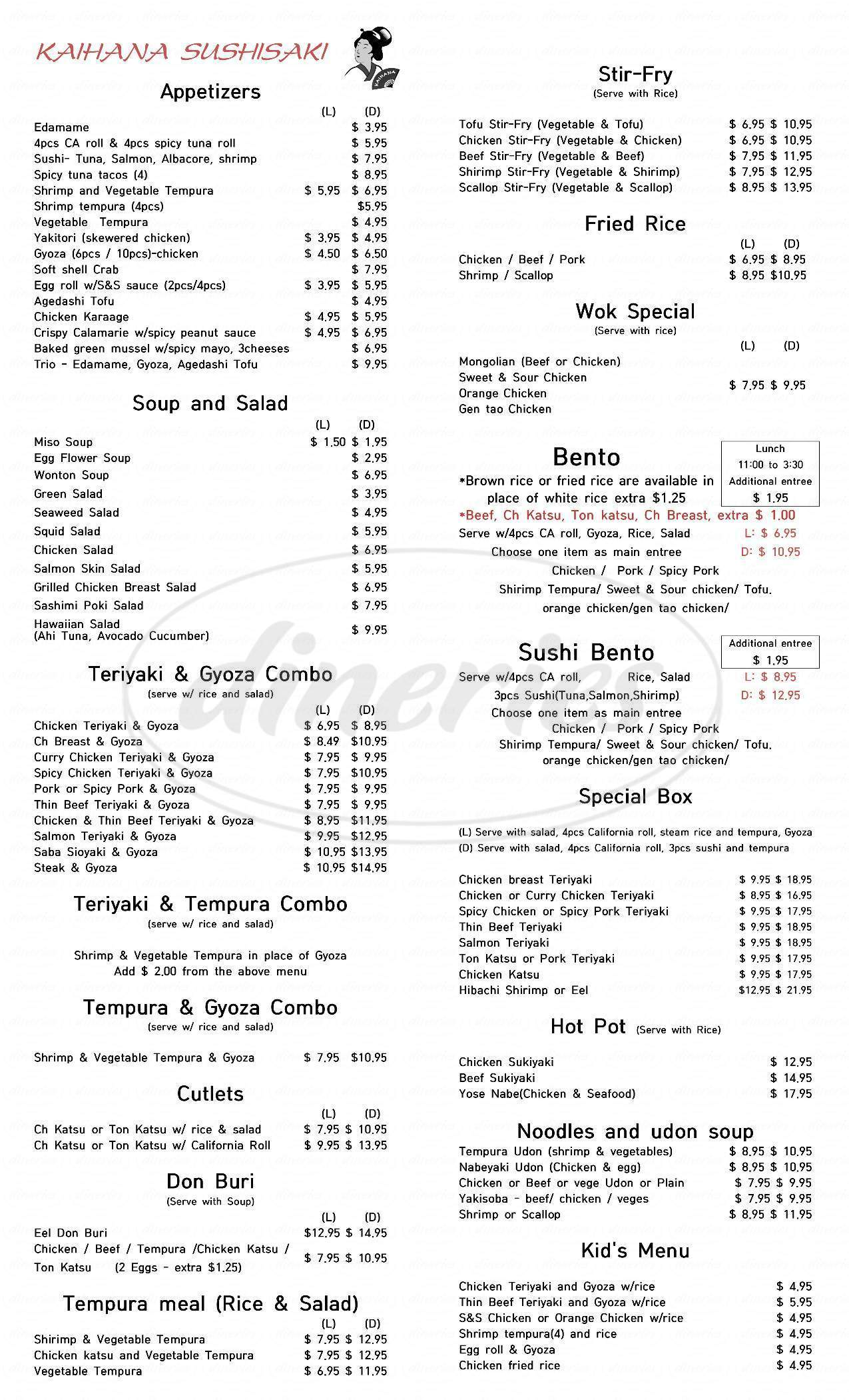 menu for Kaihana