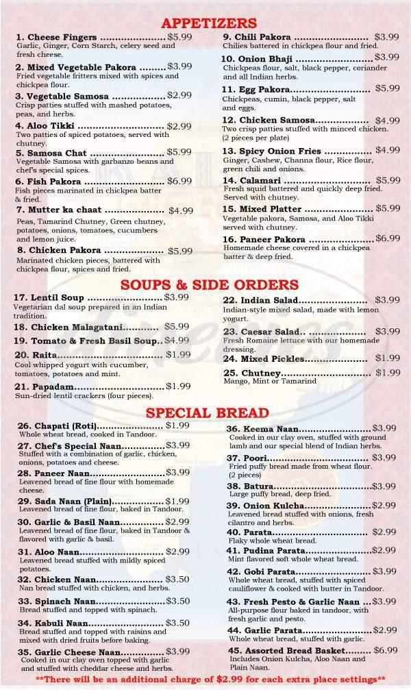 menu for Kalia