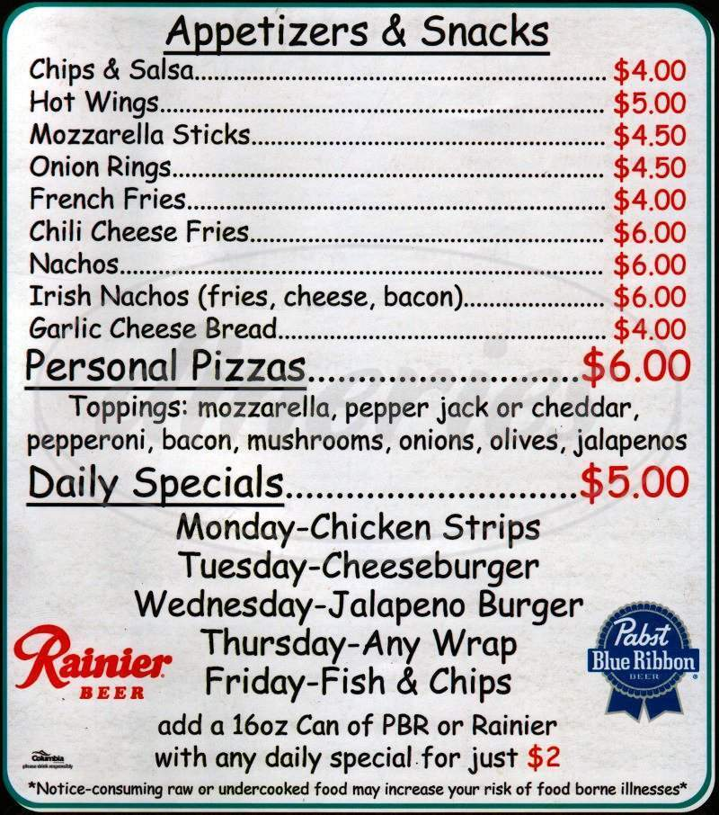 menu for Katie J's Bar & Grill