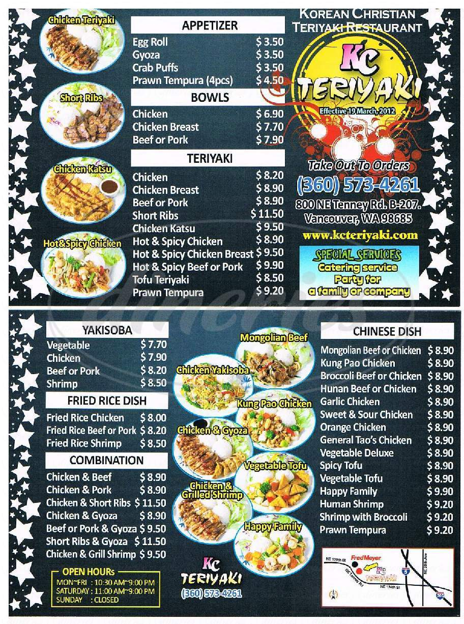 menu for KC Teriyaki