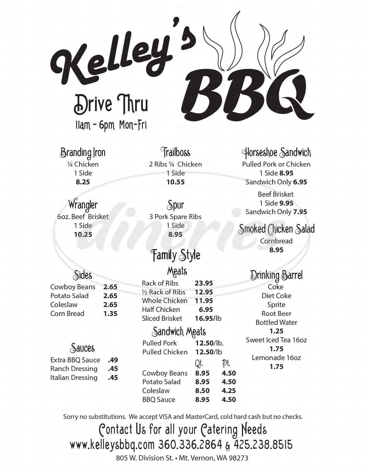 menu for Kelley's BBQ & Catering