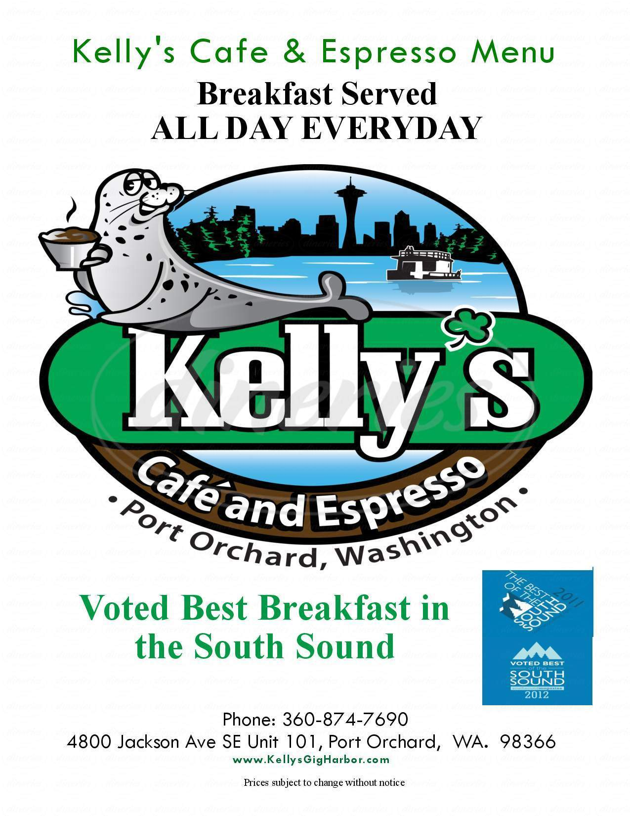 menu for Kelly's Cafe and Espresso