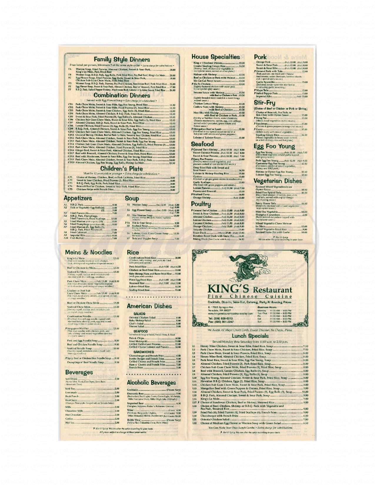 menu for King's Restaurant