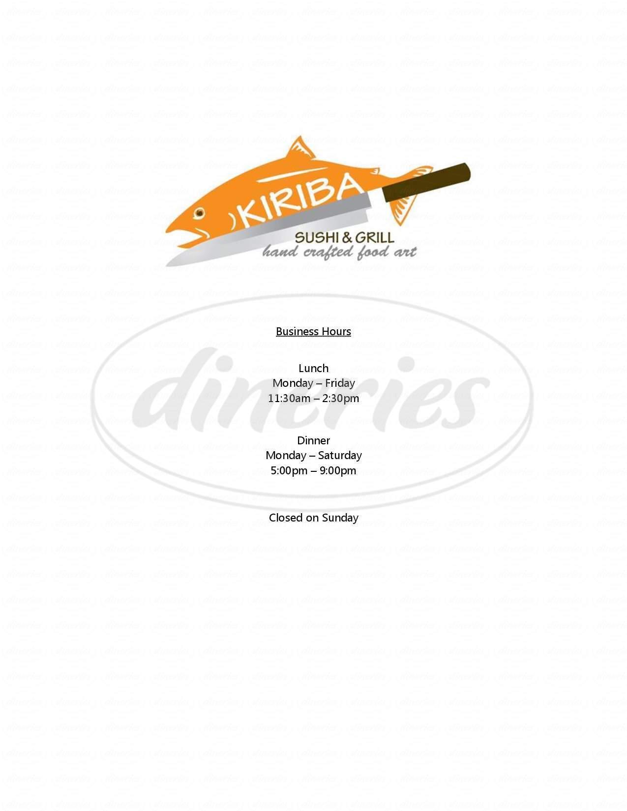 menu for Kiriba Sushi
