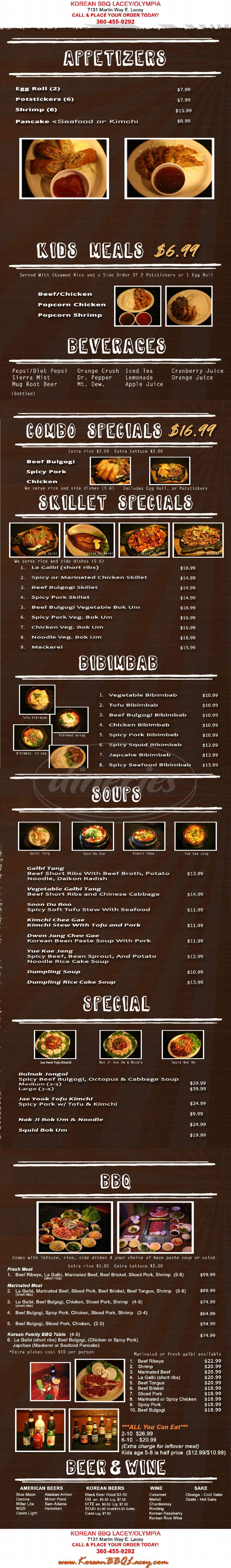 menu for # 1 Korean Bbq