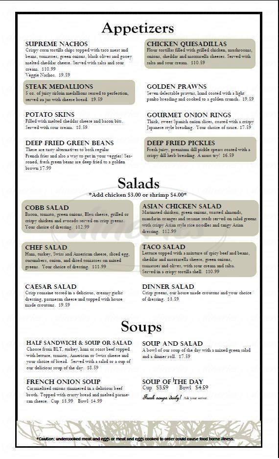 menu for Kristall's Restaurant & Lounge