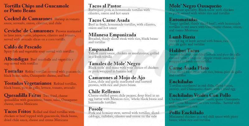 menu for La Carta de Oaxaca