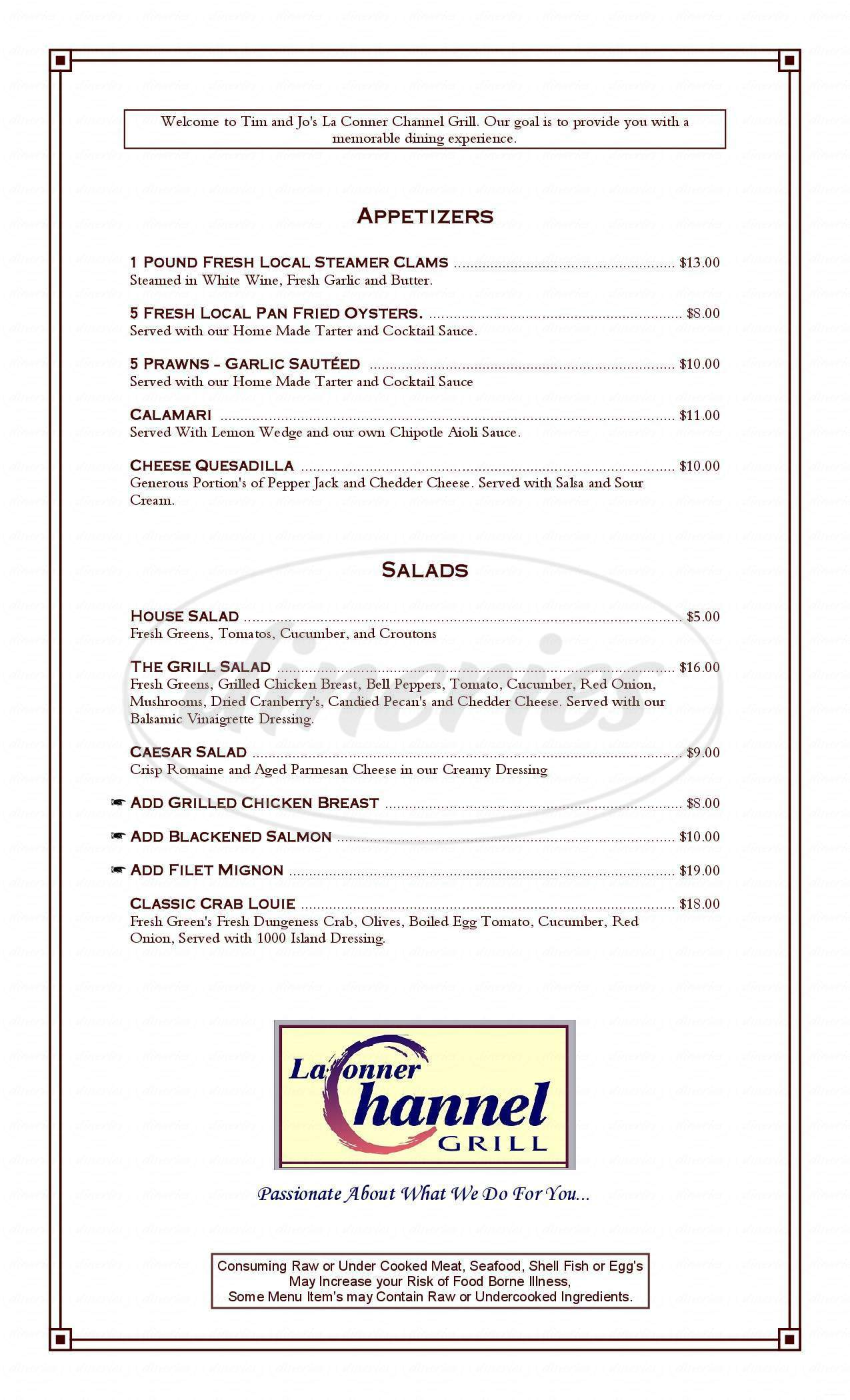menu for La Conner Channel Grill