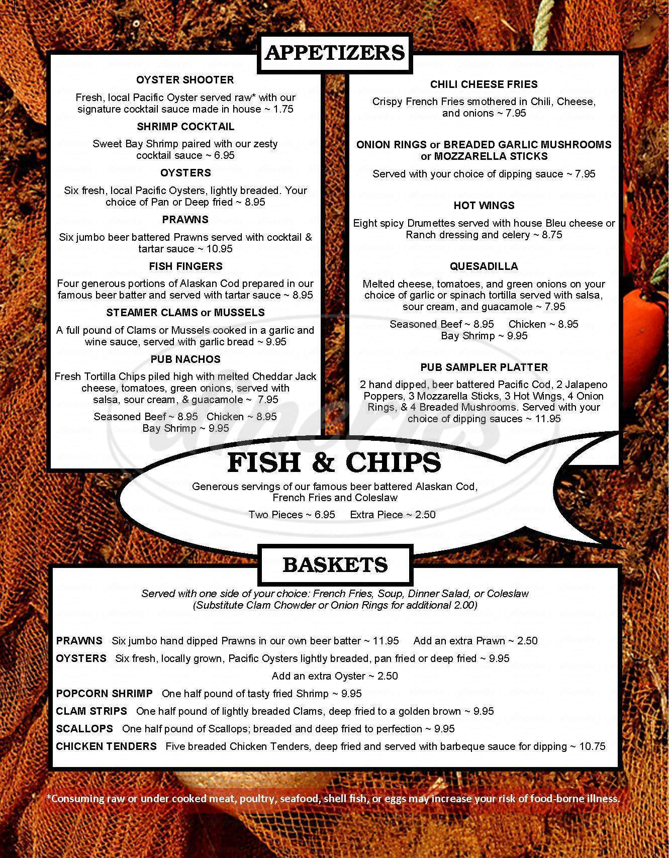 menu for La Conner Pub & Eatery