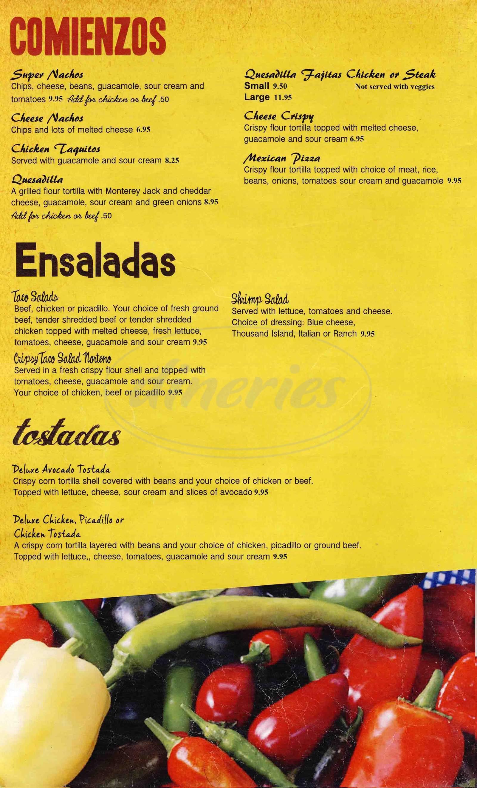 menu for La Corona