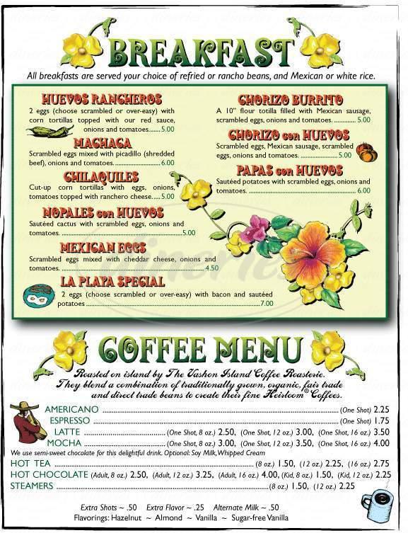 menu for LaPlaya Mexican Restaurant
