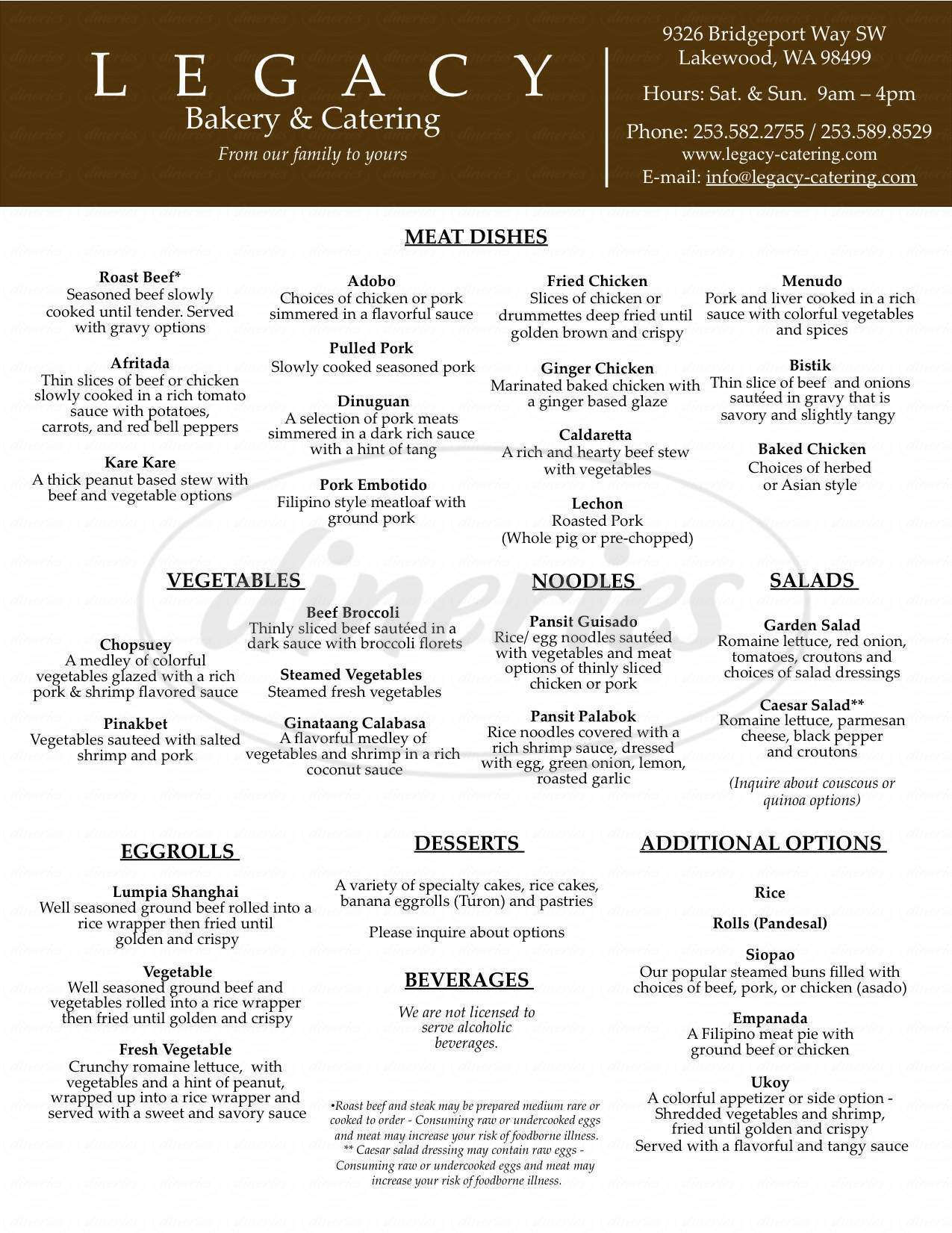 menu for Legacy Bakery & Catering