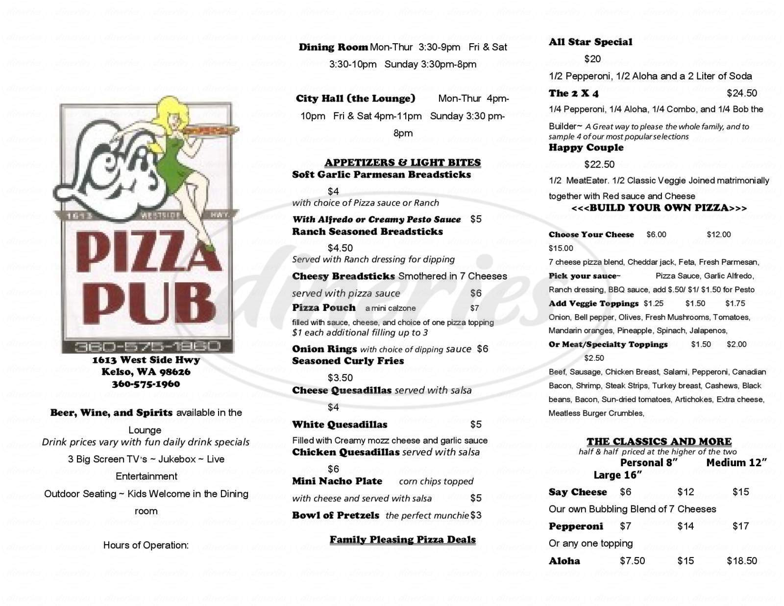 menu for Lexi's Pizza Pub