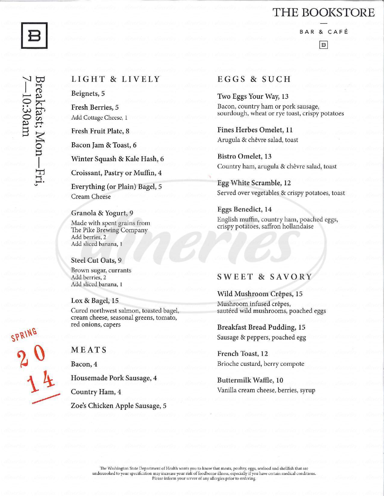 menu for Bookstore Bar