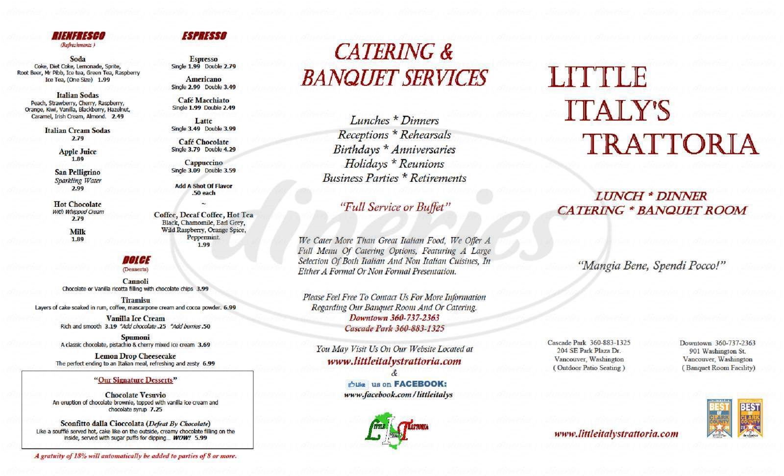 menu for Little Italy's Trattoria