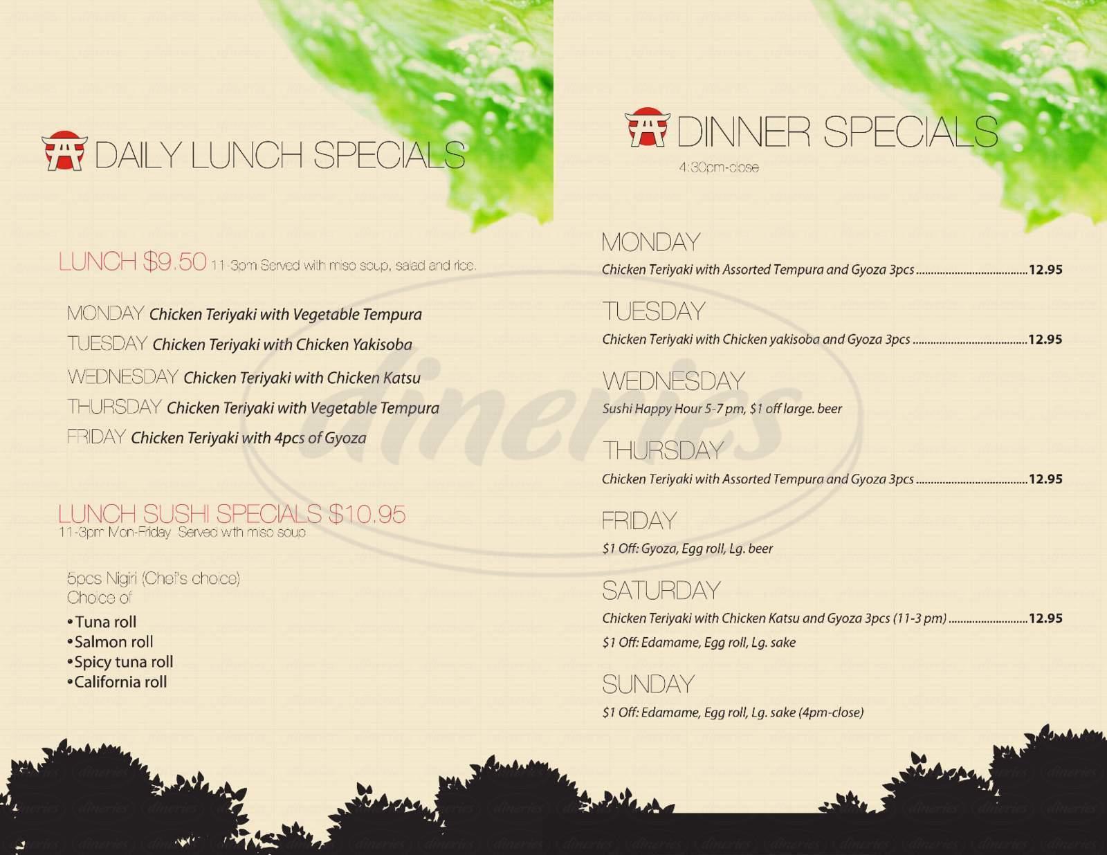 menu for Little Tokyo