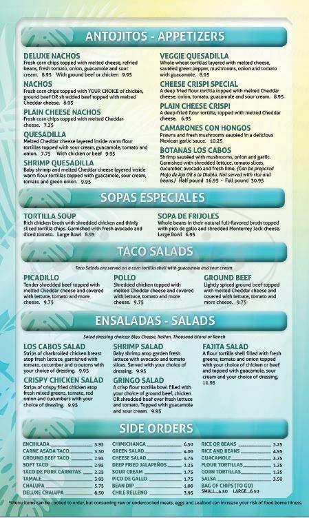 menu for Los Cabos Mexican Restaurant & Bar