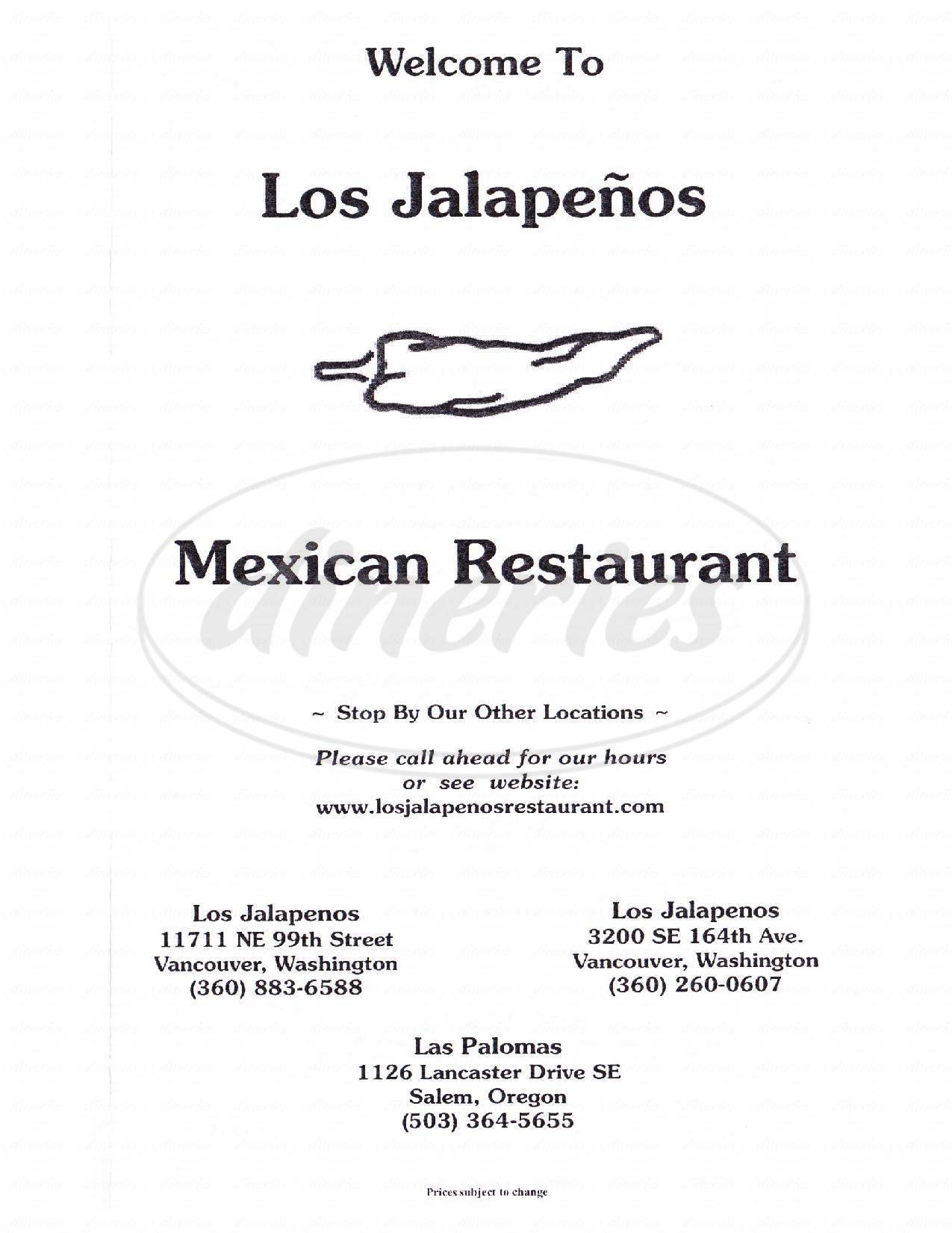 menu for Los Jalapenos