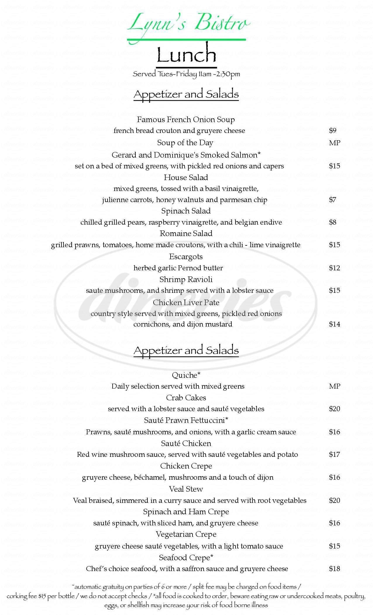 menu for Lynn's Bistro