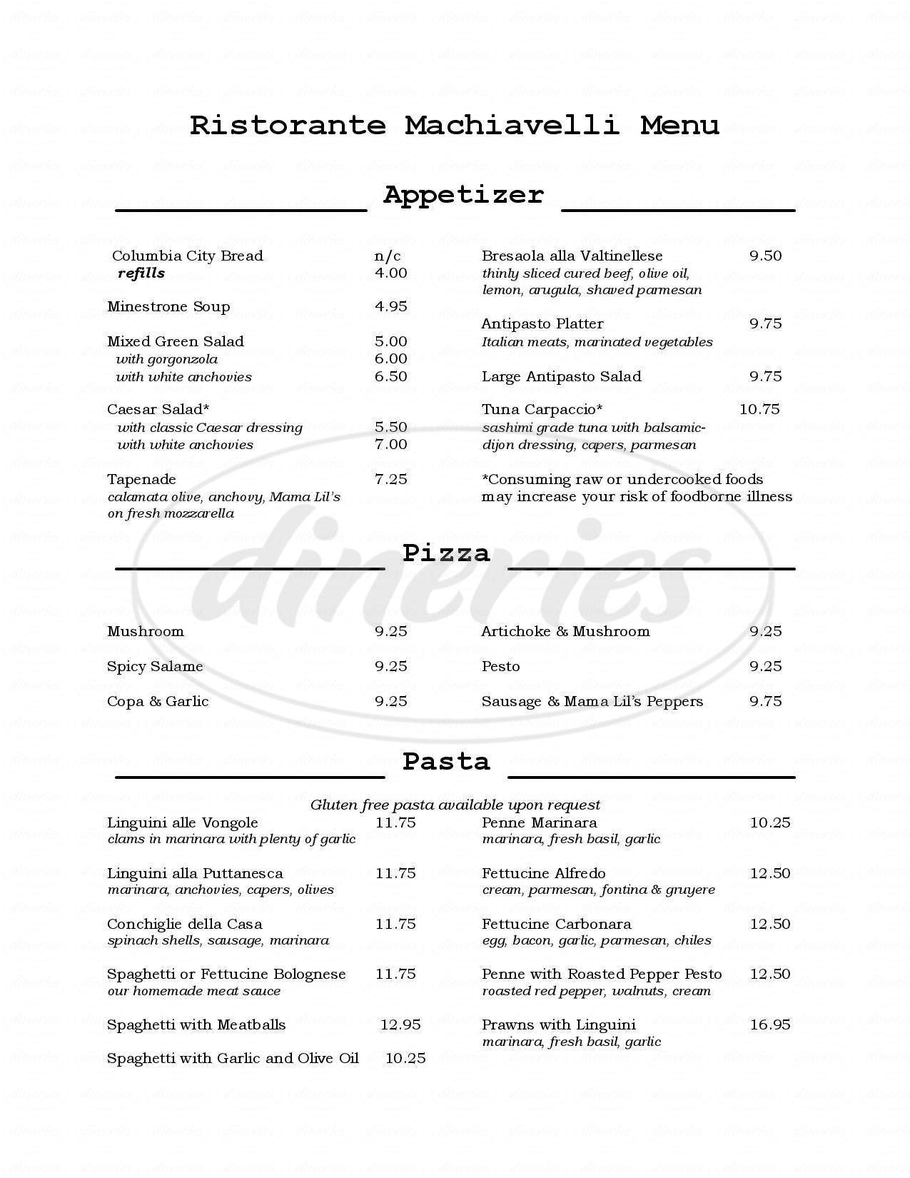 menu for Ristorante Machiavelli