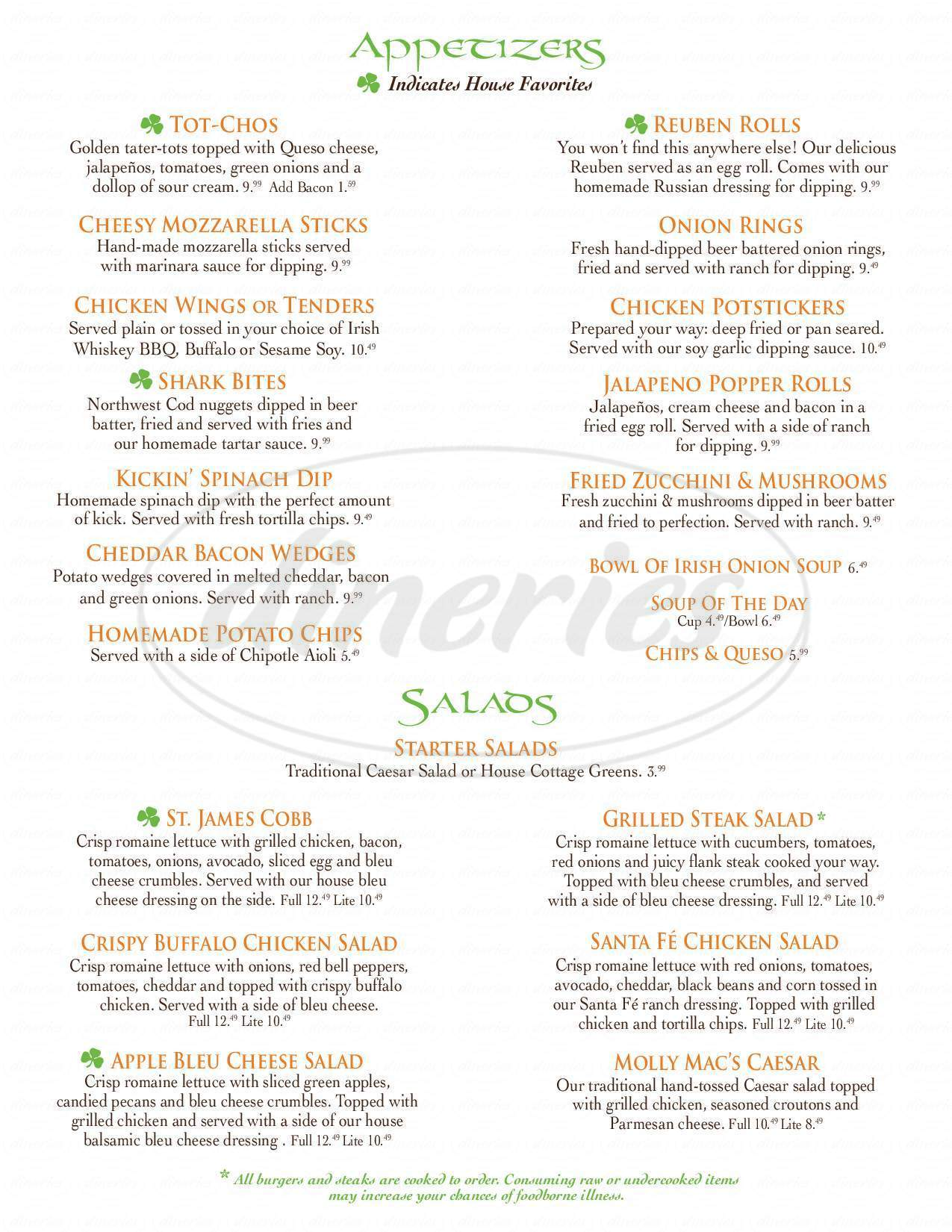 menu for McNamara's Pub & Eatery