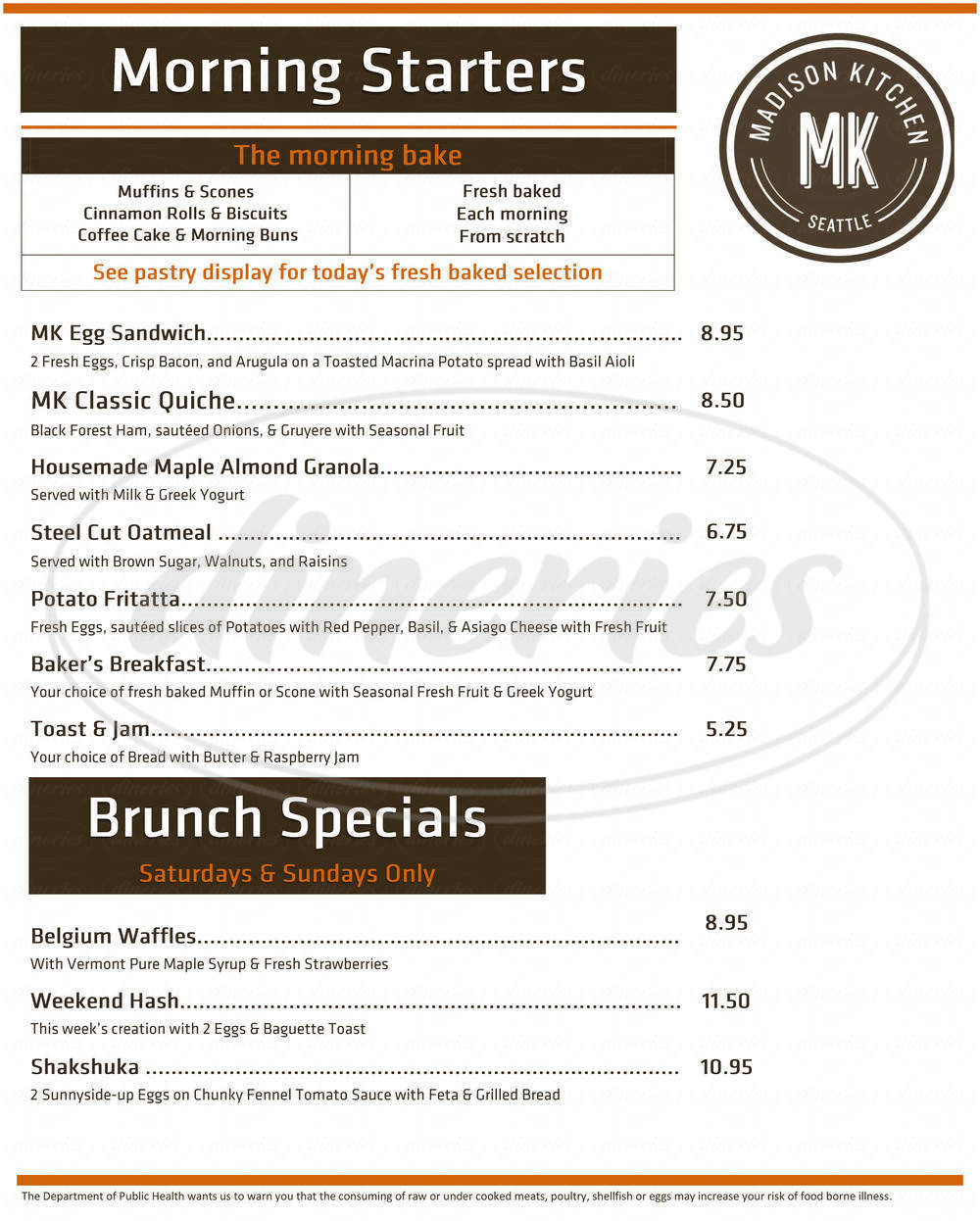 menu for Madison Kitchen