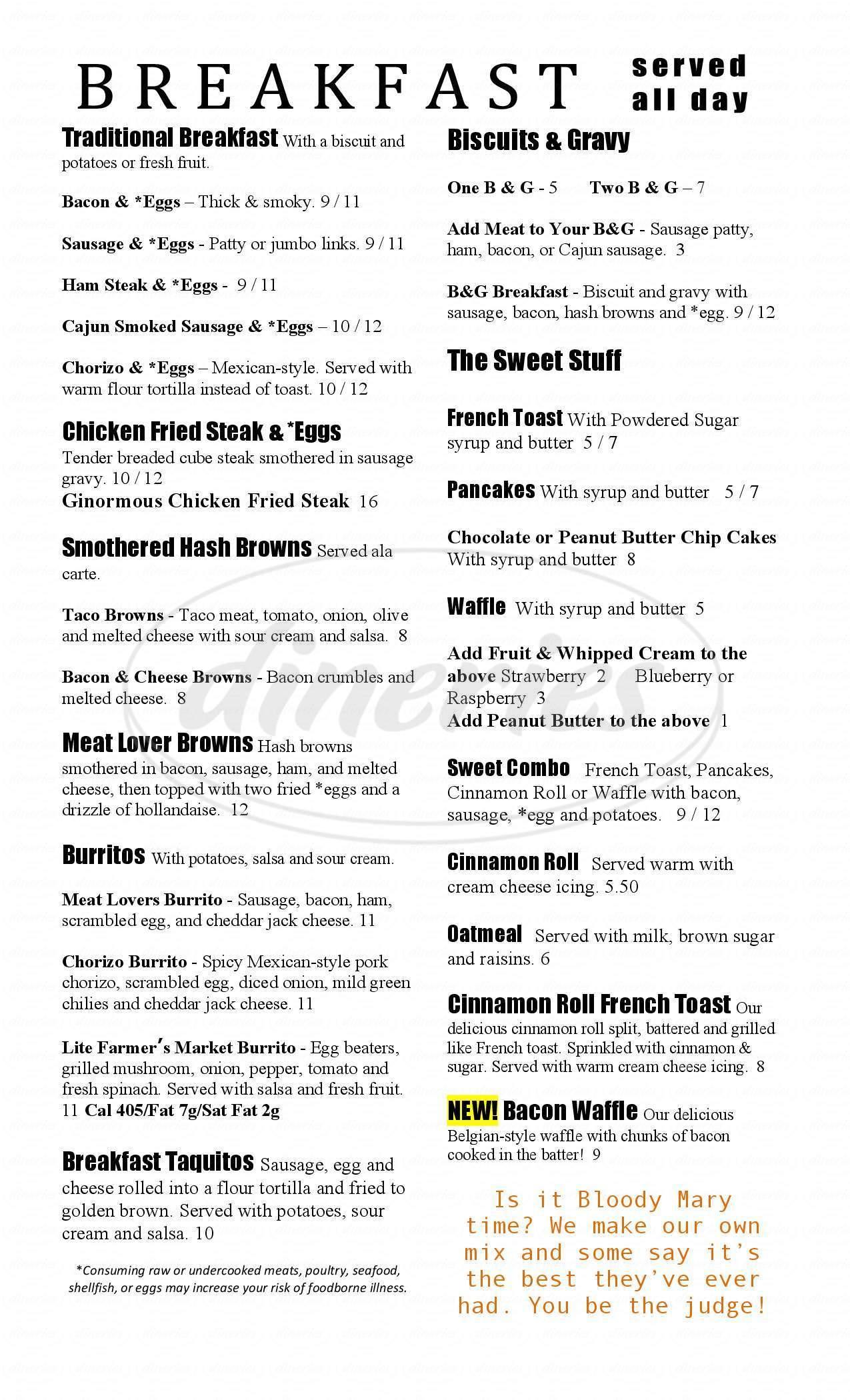menu for Magills Restaurant