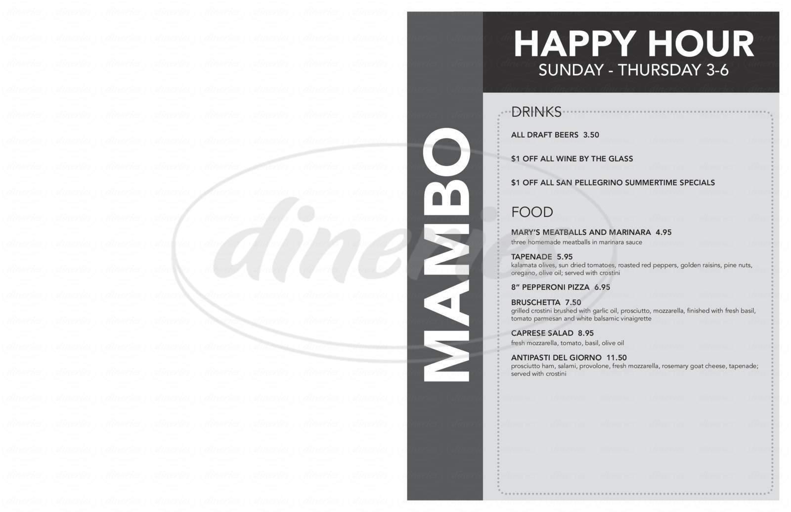 menu for Mambo Italiano Cafe