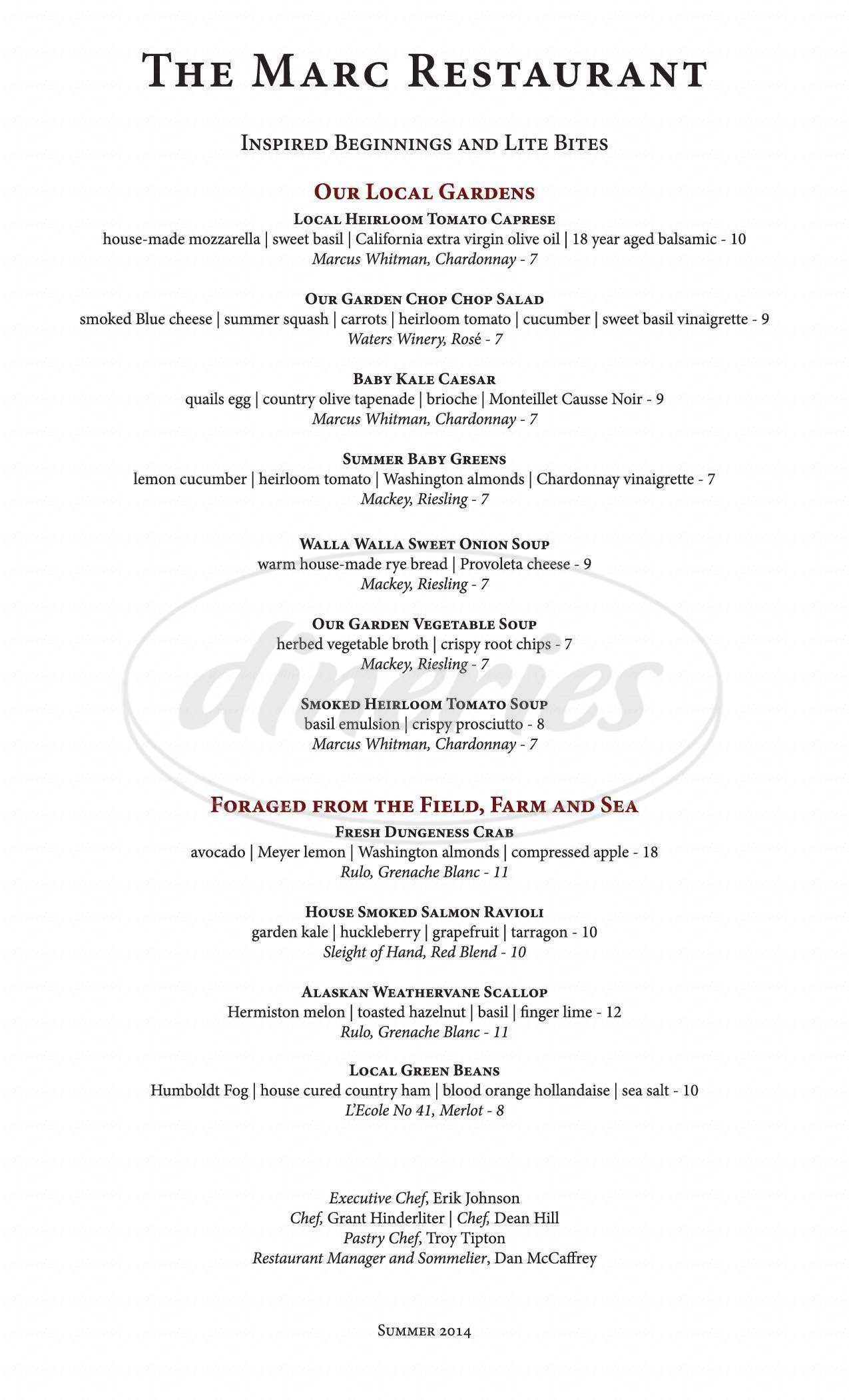 menu for Marcus Whitman Hotel & Conference Center