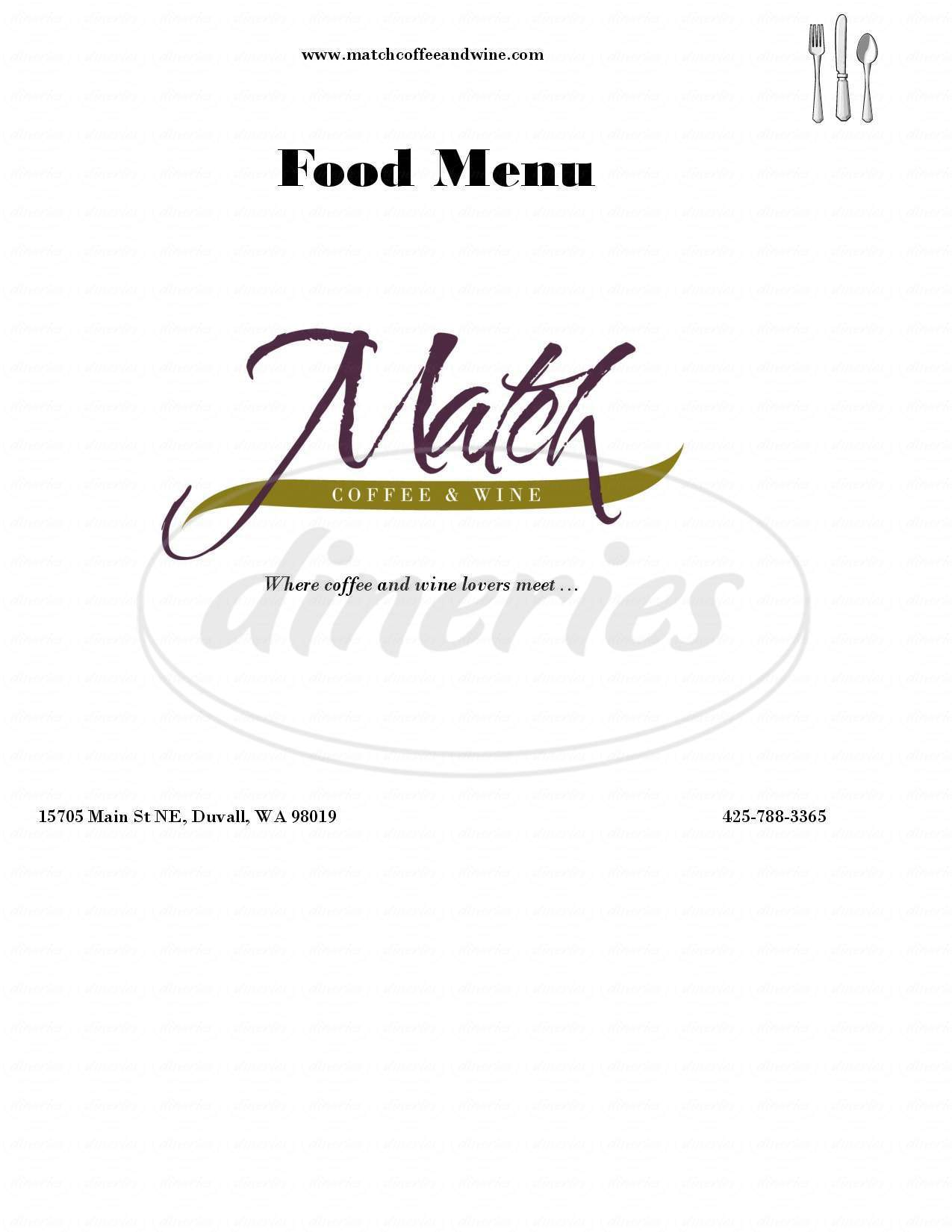 menu for Match Coffee & Wine