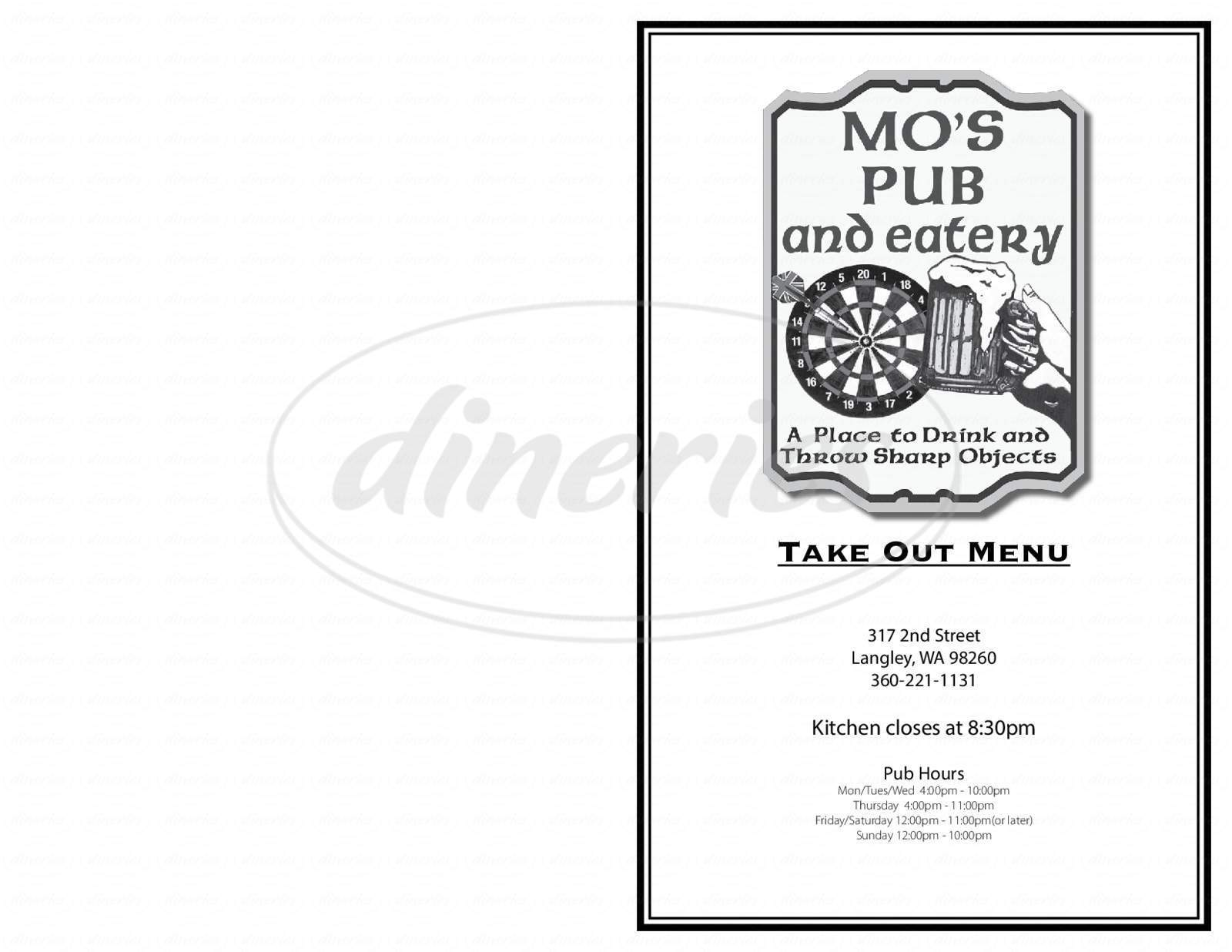 menu for Mo's Pub and Eatery