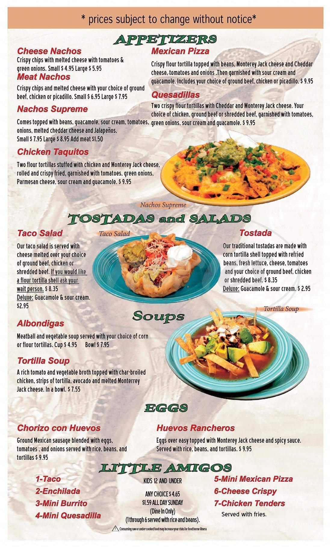 menu for Mayan Family Mexican Restaurant