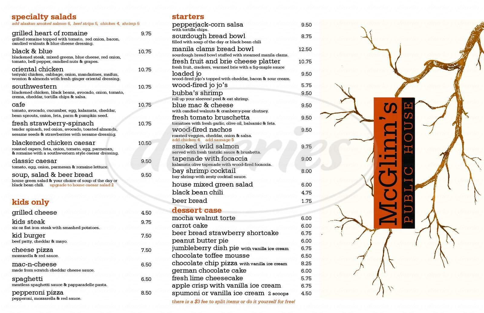 menu for McGlinn's Public House