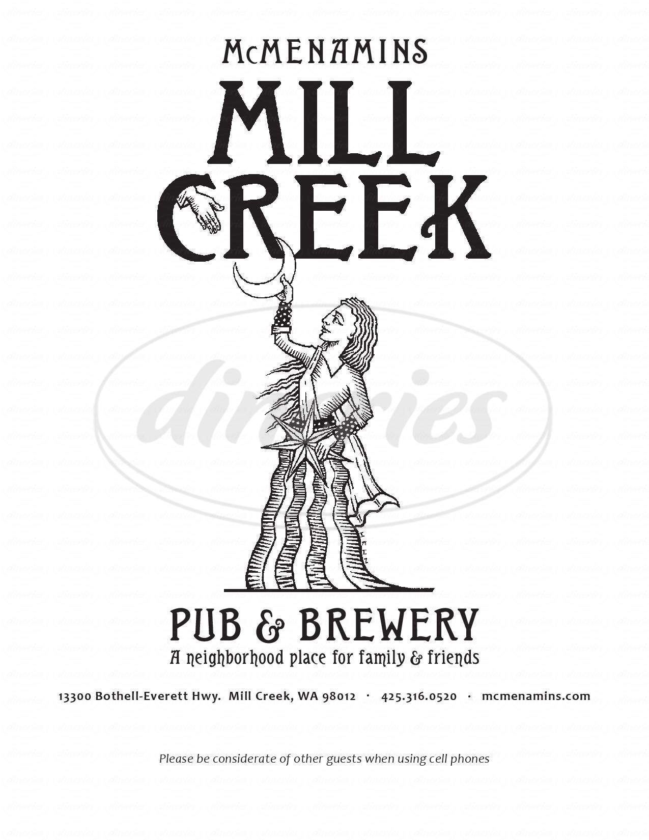menu for McMenamins Mill Creek