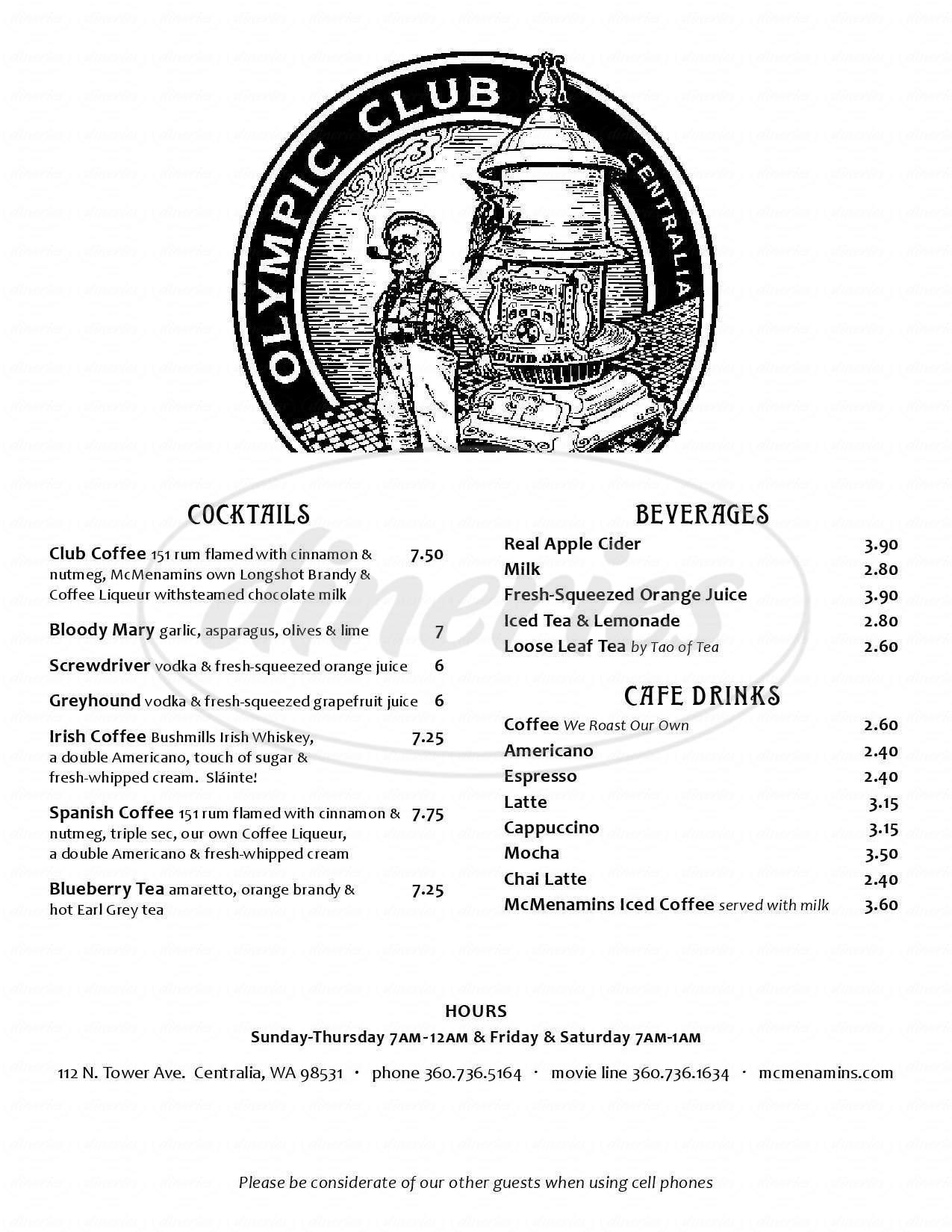 menu for Olympic Club Pub
