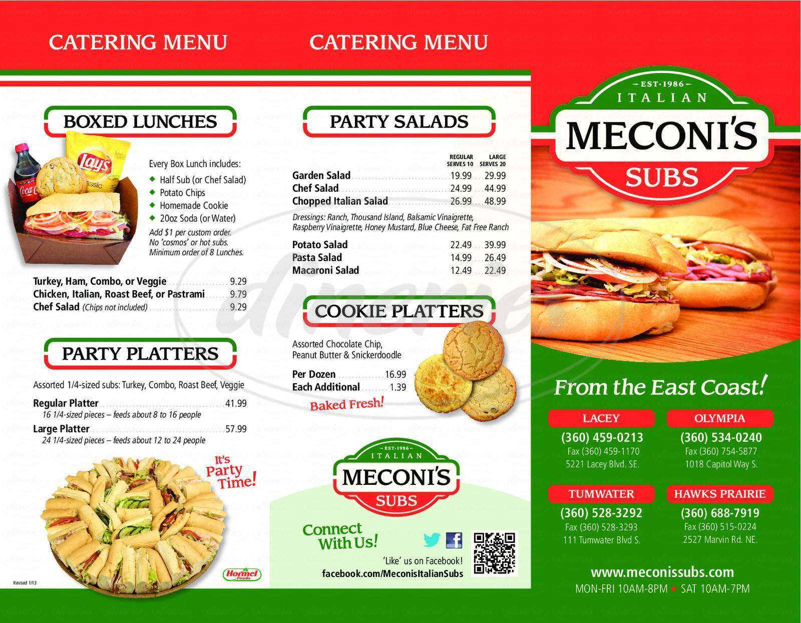 menu for Meconi's Italian Subs