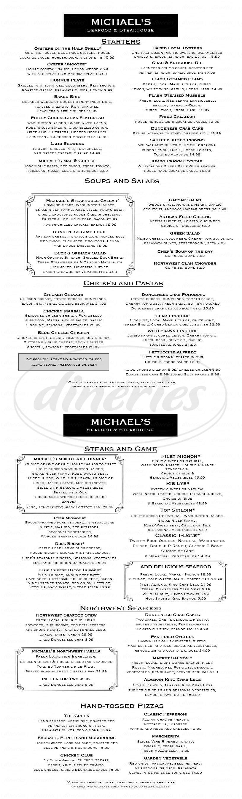 menu for Michael's Seafood & Steakhouse