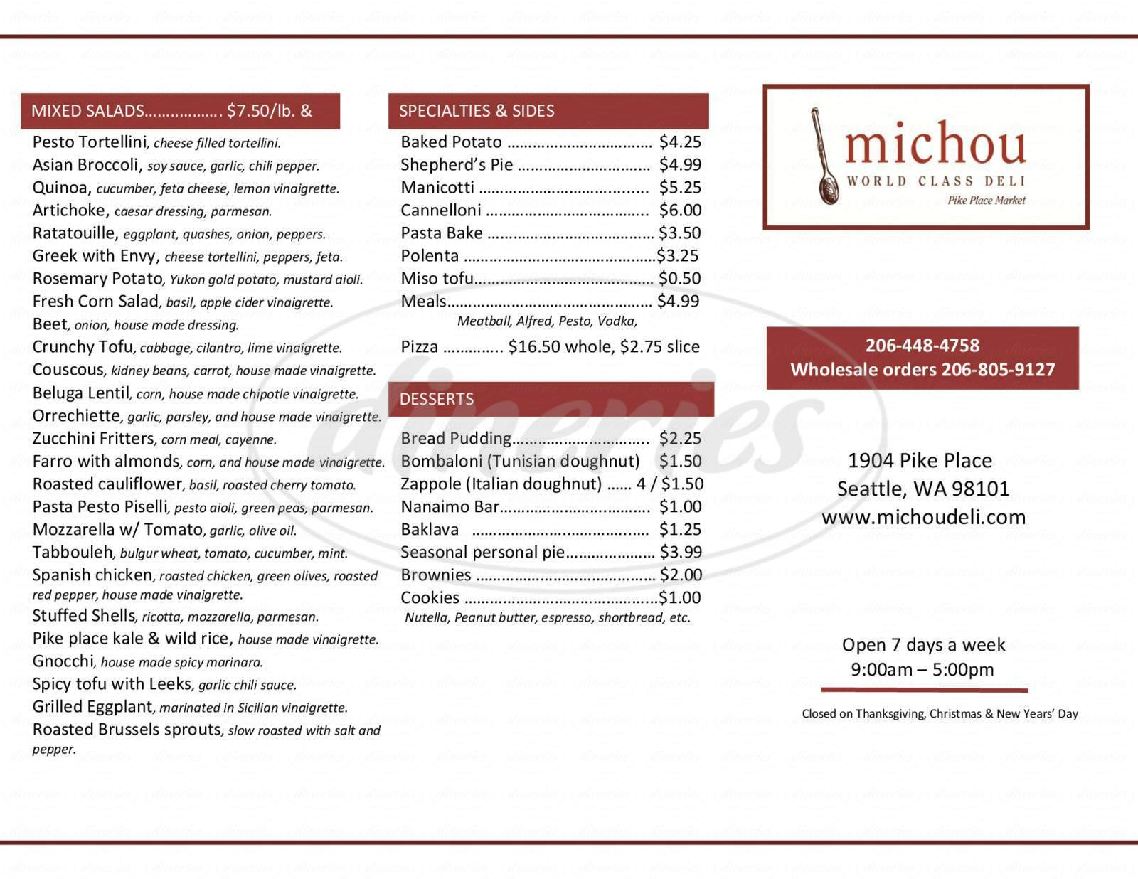 menu for Michou